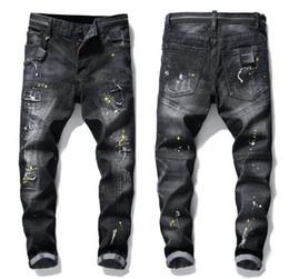 Ingrosso Jeans neri skinny con maniche a pannelli mens unici in denim Pantaloni slim fit in cotone lavato con motivo motociclista