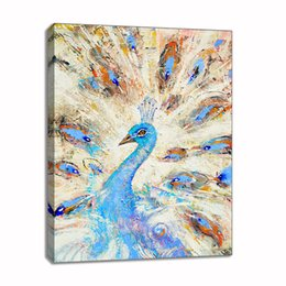 $enCountryForm.capitalKeyWord Australia - Handpainted Oil Painting On Canvas Pop Art Animal Peacock Picture Framed Abstract Wall Art Living Room Bedroom Wall Decor