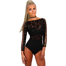 $enCountryForm.capitalKeyWord UK - Bodysuit Women Elegant Romper Black Lace Lattice Long Sleeve Bodycon Playsuit Body Femme Club Jumpsuit