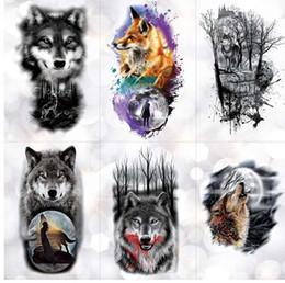 0bced0db49b56 Tribal Wolf Moon Pine Tree Temporary Tattoo Sticker Fox Waterproof Tattoos  Forest Body Art Arm Fake Tatoo Men Women
