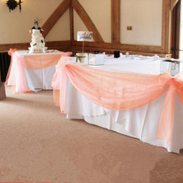 Fabric Curtains For Party Decorations Australia - High Quality10m *1 .35m Peach Color Sheer Swag Diy Organza Swag Fabric For Wedding Decoration ,Backdrop Curtain And Table Decoration