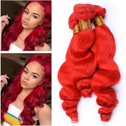 "red human hair Australia - Bright Red Loose Wave Brazilian Human Hair Bundles Deals 3Pcs Red colored Loose Wavy Virgin Human Hair Weave Wefts 10-30"" Mixed Length"