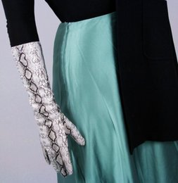 Sexy Skin dreSSeS online shopping - Women s silver snake skin print faux pu leather long gloves female sexy party dress fashion long glove cm R1067