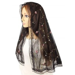 veils for church NZ - Short Floral Tulle Lace Mantilla Veil for Church Catholic Head Scarf Covering Latin Mass Vintage Veil Velos Negra Mantilla Voile