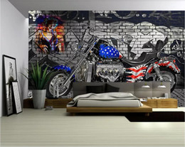 Wholesale custom motorcycles online – design 3d room wallpaper custom photo mural American flag motorcycle home decor wall background wall art pictures wallpaper for walls d