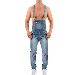 60ad4f139b8 HEFLASHOR 2019 Fashion Men s Ripped Jeans Jumpsuits Street Distressed Denim  Bib Overalls For Male Suspender Pants Plus Size