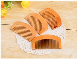 Wholesale Wooden Comb Natural Health Peach Wood Anti static Health Care Beard Comb Pocket Combs Hairbrush Massager Hair Styling Tool
