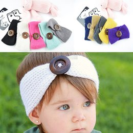 baby knitted headbands NZ - Hot Sale 13 Colors Winter Baby Warmer Wool Knitted Headband Girls Kids Newborn Hair Head Turban Headwear With Button Hair Accessories M22F