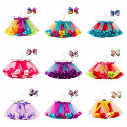 Discount christmas tutu wear - Girls Tutu Skirts Raninbow Baby Tulle Fairy Pettiskirt Fancy Ballet Skirts Headband Dancewear Princess Mini Dress Stage
