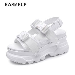 Thick Sole Sandals Australia - RASMEUP Platform Women's Sandals 2019 Fashion Summer Leather Buckle Women Thick Soled Beach Sandal Casual Chunky Woman Shoes