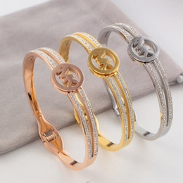 $enCountryForm.capitalKeyWord Australia - Luxury Designer Brand M Jewelry Classic Clay Drill Bracelet Hollow Titanium Steel Drill Ring Hand Jewelry No Fading and Anti-allergy