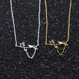 $enCountryForm.capitalKeyWord Australia - wholesale Manufacture 10pcs  lot Fashion Jewelry Lovely Bird on the Branch Charms Stainless Steel Women Choker Necklace