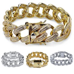 "white bracelet chain boys 2019 - 7"" 8"" luxury mens jewlery men boy gift iced Miami cuban link chain gold silver color micro pave CZ zircoonia b"