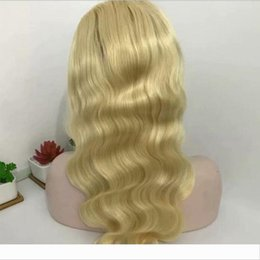 blonde body wave full lace UK - Peruvian Honey Blonde Lace Front Human Hair Wigs For Black Women 613# Blonde Body Wave Human Hair Wigs With Baby Hair Around