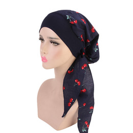 Discount muslim hair - Women Cotton Muslim Caps Hijab Bandana Printed Turban Chemo Hats Elastic Long Hair Band Head Wraps Pastoral Style Indian