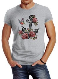 Wholesale Herren T Shirt Anker Rosen Patch Tropical Anchor Stick Optik Slim Fit Neverless