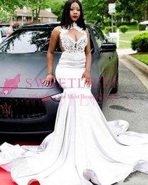 Black Formal Dresses South Africa Australia - 2019 South Africa Style Halter Neck Prom Dresses White Satin Sweep Train Appliques Mermaid Black Girls Formal Occasion Evening Dresses