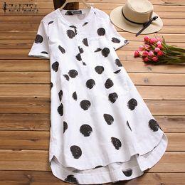 $enCountryForm.capitalKeyWord NZ - Zanzea Fashion Women Blouse Polka Dot Printed Shirt Female Casual Short Sleeve High-low Blusas Cotton Blusa Feminina Plus Size Y19062501