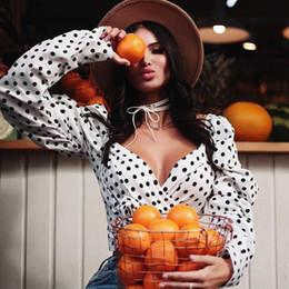 $enCountryForm.capitalKeyWord Australia - Women's New Arrival 2019 Fashion T-shirt Women's Top V-neck Long-sleeved Tops Straps Short Polka Dot T-shirt Women Size S-L