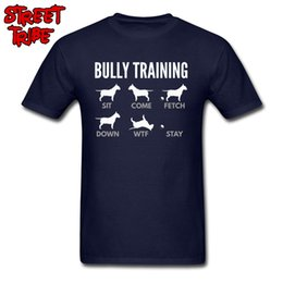 Wholesale 5xl dog clothes online – design Funny T shirt Men English Bull Terrier Bully Train Tshirt Dog Father T Shirt Lovely Design Navy Blue Clothing O Neck Streetwear