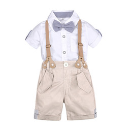 77a67517b07 2019 New Baby Boys Clothing Set Shorts Shirt Tie Little Gentleman Children  Kids Clothes Suits Formal Wedding Party Costume