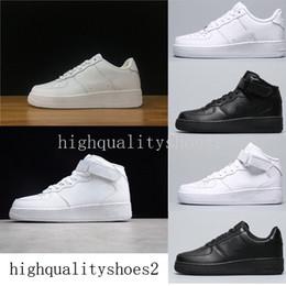 2019 Nike Air Force one 1 Af1 Clássico Todo branco preto cinza baixo alto corte homens mulheres Esportes tênis um skate Sapatos EUA 5.5-12 em Promoção