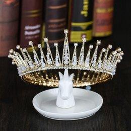 Big Bohemian Hair Australia - Vintage Gold Tiaras Pearl Rhinestone Hair Jewelry Handmade Big Round Crown Women Bridal Wedding Hair Accessories