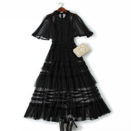 $enCountryForm.capitalKeyWord Australia - Women Girls Gothic Style Black Mesh Long Dress Patchwork Lace Short Sleece A-line Sexy Dresses 2019 Summer White