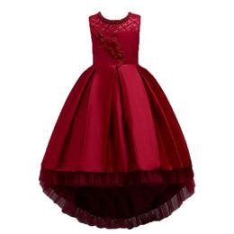 Chinese  2019 New girl dress Summer children's dress Wedding princess Handmade beading Embroidered ruffled tail manufacturers