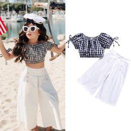 $enCountryForm.capitalKeyWord NZ - Toddler Baby Girl Black and White Plaid T-Shirt Cropped Top + Wide Leg Pants Children Summer Fall Clothing 2PCS Set 1-6T