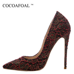 $enCountryForm.capitalKeyWord NZ - Cocoafoal Woman Rhinestone Wedding Pumps Stiletto Plus Size 33 43 44 High Heels Shoes Gold Party Sexy Black Red Valentine Shoes