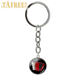 $enCountryForm.capitalKeyWord Australia - TAFREE Red Accordion keychain fashion elegant musical instrument art picture silver plated key chain popular music jewelry T494