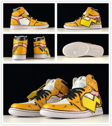 pikachu shoes NZ - DIY J1 High OG Pikachu Fragment Yellow White Men Women Basketball Shoes designer mens sports sneakers Elf treasure Trainer With box