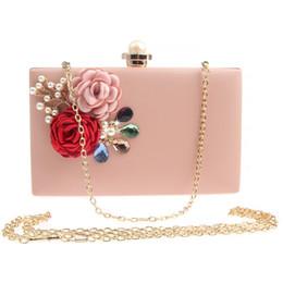 $enCountryForm.capitalKeyWord Australia - JaneVini Fashion Pearl Women Bridal Clutch Handbags Flowers Diamonds Ladies Evening Prom Bags White Pink Shoulder Handbag Wedding Purse