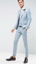 Men Prom Suits Champagne Gold Australia - Light Blue Custom Made Classic Design Men Suit Groom Tuxedos Men's Wedding suit Prom Party Men Suits 3 pcs(Jacket+Pants+Vest)