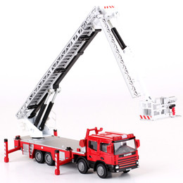 Mini Telescopes Australia - Alloy Diecast Ladder 119 High Fire Truck 1:50 Aerial Ladder Lift Simulation Telescope 360 Degrees Rotation Car Model Kids Toys J190525