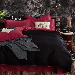 Black White Rose Bedding Australia - 100% Cotton Black Red Color King Queen Twin size Kids Bedding set Solid Color Duvet cover set Bedsheet  Fitsheet Pillowcases