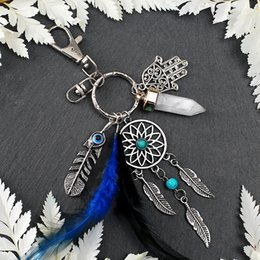 Wholesale Feather Dream Catcher Pendant Small Hanging Car Pendant Key Ring Decoration Women Tassel Keychain Car Hanging Keyring Accessories WWA224