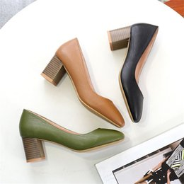 $enCountryForm.capitalKeyWord NZ - Dress Shoes New Arrive Spring Autumn Single Leather Heels Fashion Women 6cm Low Chunky Heels Pumps Soft Pu Leather Heels Dress
