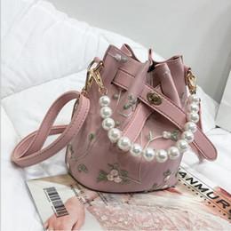 $enCountryForm.capitalKeyWord Australia - Wholesale-2PC set Women Bag Handbag High Quality PU Leather Sweet Girl Square Flower Pearl Chain Shoulder Messenger Bag Free Shipping