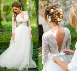 6f10e55eee Country Wedding Dresses with Long Sleeve 2019 Empire Waist V-neck Backless Lace  Fairy Summer Holiday Beach Bohemian Bridal Wedding Gown