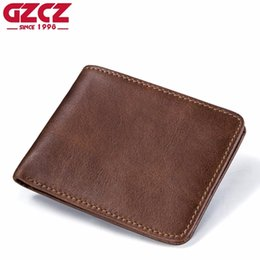 cheap leather purses wholesale NZ - GZCZ Vintage Men Wallets Genuine Leather Small Wallet Men's Money Purse Coin Bag Short Male Card Holder Cheap Slim Money Wallet