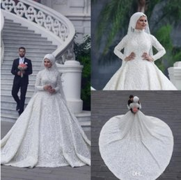 689a037bbe6 High Neck Long Sleeve Arabic Hijab Muslim Wedding Dresses 2019 Romantic  Appliques Lace White Bridal Gowns Court Train abiti da sposa Custom