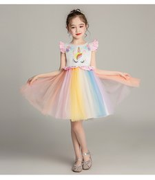 rainbow tutu wholesale Australia - TuTu Lace Rainbow Christening Dress Appliqued Little Girls Bubble Braces Skirt Christening Baptism Floral Dress Gown Outfit Party Wedding