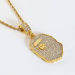 $enCountryForm.capitalKeyWord Australia - 2019 Ape-man's Head Pendant Necklaces Hiphop Cube Necklace For Men Alloy Imitation Gold Necklaces For Party Bar Designer Accessories