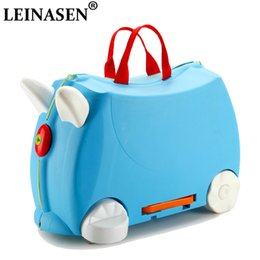 Toy Suitcases NZ - HOT fashion travel luggage locker boy girl car Toy box suitcase Can sit to ride baby Check box children holiday gift storage