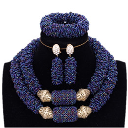 $enCountryForm.capitalKeyWord NZ - Wedding Jewellery Set Bridal Jewelry Dark Blue and Gold Bold Bracelet Necklace Earrings Set African Nigerian Beads Free Ship
