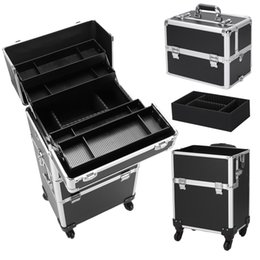 tattoo covers NZ - 360° Rotatable Trolley Tattoo Box 3 in 1 Aluminum Cosmetics Cosmetic Case Storage Box Beauty Box Black