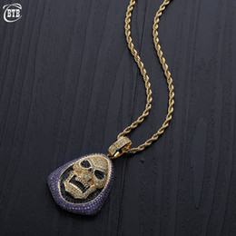 $enCountryForm.capitalKeyWord Australia - New Micro Pave Shiny Cubic Zirconia Skull Pendant & Necklace Hip-hop Jewelry for Men and Women Gold Silver Ice out CZ Necklace