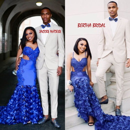 White lace floral prom dresses online shopping - Royal Blue Prom Gown Spaghetti Straps D Floral Black Girl Mermaid Sexy Evening Dress Vestidos De Formatura Longo